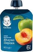 Nestle Gerber - Пауч ябълка и праскова - Опаковка от 90 g за бебета над 6 месеца - пюре