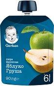 Nestle Gerber - Пауч ябълка и круша - Опаковка от 90 g за бебета над 6 месеца - пюре
