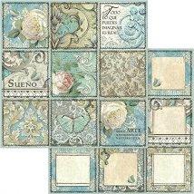 Хартии за скрапбукинг - Рози и орнаменти - Размери 30.5 х 30.5 cm