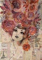 Декупажна хартия - Момиче с рози - Формат А4