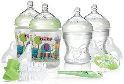 Комплект за новородено - Starter Set - С шишета, биберони, залъгалка и четка за почистване на шишета -