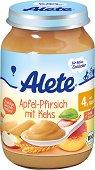 Alete - Био пюре от ябълка и праскова с бисквити - Бурканче от 190 g за бебета над 4 месеца - пюре