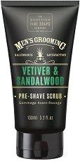 """Scottish Fine Soaps Men's Grooming Vetiver & Sandalwood Pre-Shave Scrub - Скраб за преди бръснене за мъже от серията """"Men's Grooming"""" - серум"""