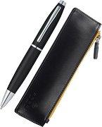 Химикалка и кожен калъф - Calais Matt Black - Комплект от 2 части в подаръчна кутия