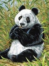 Рисуване по номера - Панда - Комплект за картина с размери 22.5 x 30.5 cm