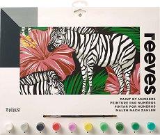 Рисуване по номера - Зебри с цветя - Комплект за картина с размери 40 x 30 cm