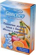 Ganchev - Инстантна пшенична млечна каша с банан, ябълка и портокал - Опаковка от 200 g за бебета над 6 месеца -