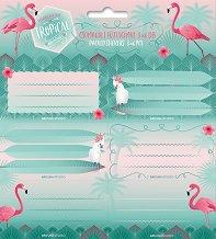 Етикети за тетрадки - Pink Flamingo - Комплект от 18 броя -