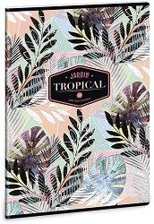 Ученическа тетрадка - Tropical Leaf : Формат А4 с широки редове - 40 листа -