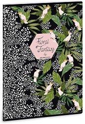 Ученическа тетрадка - Floral Kakadu : Формат А4 с широки редове - 40 листа -