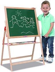 Магнитна дъска за писане със стойка - Комплект с 10 тебешира и гъба за почистване - играчка