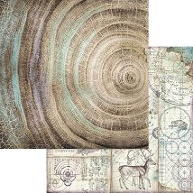 Хартии за скрапбукинг - Годишни дървени пръстени - Размери 30.5 х 30.5 cm