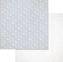 Хартии за скрапбукинг - Снежинки и сърца - Размери 30.5 х 30.5 cm