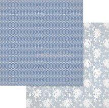 Хартии за скрапбукинг - Сини орнаменти и цветя - Размери 30.5 х 30.5 cm