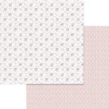 Хартии за скрапбукинг - Розови цветя - Размери 30.5 х 30.5 cm