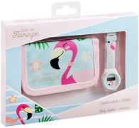 Комплект портмоне и часовник - Фламинго - играчка