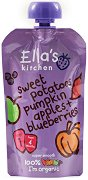 Ella's Kitchen - Био плодово-зеленчуково пюре от сладки картофи, тиква, ябълка и боровинки - продукт