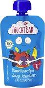 Fruchtbar - Био пюре с ябълки, банани, сливи и касис - Опаковка от 100 g за бебета над 6 месеца -