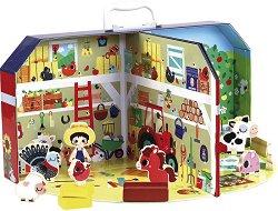 Моята малка ферма - Детски дървени играчки в куфар -