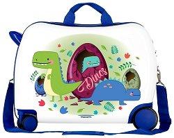 Детски куфар с колелца - Динозаври - С размери - 50 / 38 / 20 cm - детски аксесоар