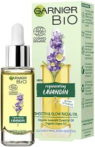 "Garnier Bio Lavandin Smooth & Glow Facial Oil - Био олио за лице с лавандула от серията ""Garnier Bio"" - балсам"