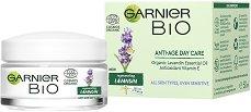 """Garnier Bio Lavandin Anti-Age Day Cream - Био дневен крем за лице против стареене с лавандула от серията """"Garnier Bio"""" - продукт"""