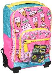 """Детски куфар-раница с колелца - Sweets - Комплект със неонови стикери от серията """"Dr. Trolley"""" - продукт"""