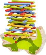 Крокодил - Детска дървена играчка за баланс - играчка