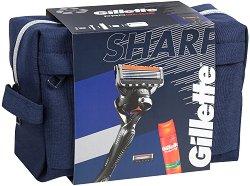 Подаръчен комплект за мъже - Gillette Fusion 5 ProGlide - Самобръсначка, резервни ножчета, гел за бръснене и несесер - продукт