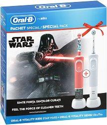 Oral-B Vitality Sensitive Ultra Thin + Vitality Kids Disney Star Wars - Семеен комплект от 2 броя електрически четки за зъби -