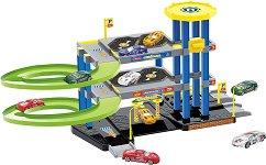 Паркинг с площадка за кацане - Комплект с 3 коли и 1 хеликоптер - играчка