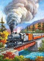 """Влак с парен локомотив - Пъзел от серията """"Castorland: Premium"""" : Сонг Ким (Sung Kim) -"""