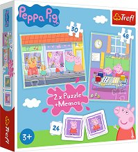 Пепа Пиг - 3 в 1 - Комплект от 2 пъзела и мемо игра -