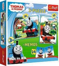 """Томас и приятели - 3 в 1 - Комплект от 2 пъзела и мемо игра от серията """"Влакчето Томас"""" -"""