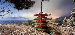 Пагода Чурейто и Вулканът Фуджи, Япония - панорама - пъзел
