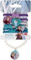 Детски комплект с ластици за коса и гривна - Frozen 2 - кукла