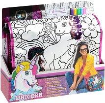 Чанта за оцветяване с пайети - Еднорог - Комплект с текстилни маркери за оцветяване - несесер
