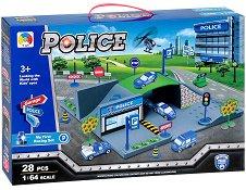 Полицейски паркинг - Детска сглобяема писта с 3 колички -