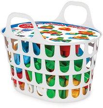 Детски конструктор с големи части - Комплект от 36 части в кошница - образователен комплект