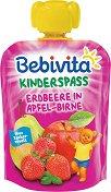 Bebivita - Забавна плодова закуска с ягода, ябълка и круша - Опаковка от 90 g за бебета над 12 месеца -