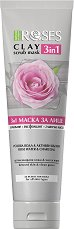 Nature of Agiva Roses Clay 3 in 1 Scrub Mask - Глинена маска за лице 3 в 1 с роза и активен въглен -