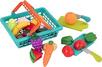 Пазарска кошница с продукти - Комплект за игра -