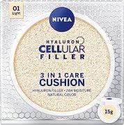 Nivea Hyaluron Cellular Filler 3 in 1 Care Cushion - SPF 15 - душ гел