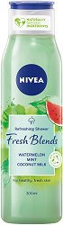 Nivea Fresh Blends Watermelon Shower Gel - Душ гел с диня, мента и кокосово мляко - лак