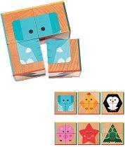 Дървени кубчета - Животни и форми - Комплект от 4 части -