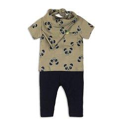 Бебешки комплект - Тениска, панталон и лигавник тип бандана -