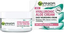 """Garnier Hyaluronic Aloe Cream - Подхранващ крем за суха и чувствителна кожа от серията """"Hyaluronic Aloe"""" - боя"""