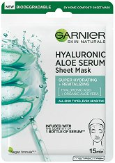 Garnier Hyaluronic Aloe Tissue Mask - Хидратираща хартиена маска за лице - шампоан
