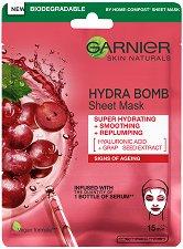 Garnier Hydra Bomb Tissue Mask - Хартиена маска за лице против стареене - боя