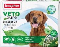 Beaphar Veto Pure Bio Spot On Dog - Репелентни капки за кучета от средни породи - опаковка от 3 пипети - продукт